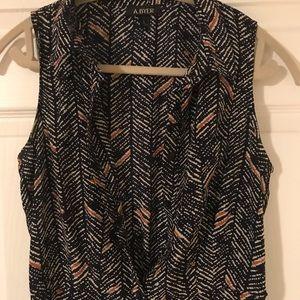 Navy Sleeveless Silk Dress
